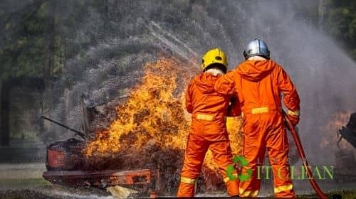 Firefighters Spraying Water